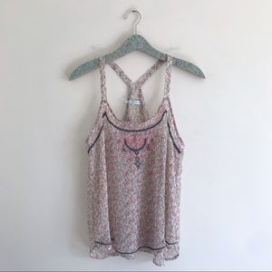 Maurices Sheer Floral Embroidered Tank